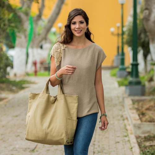 Cotton Shoulder Bag from Peru 'Voyages in Beige'