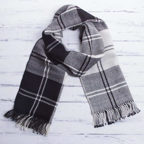 Handcrafted Alpaca Wool Striped Black and White Scarf 'Classic Black and White'