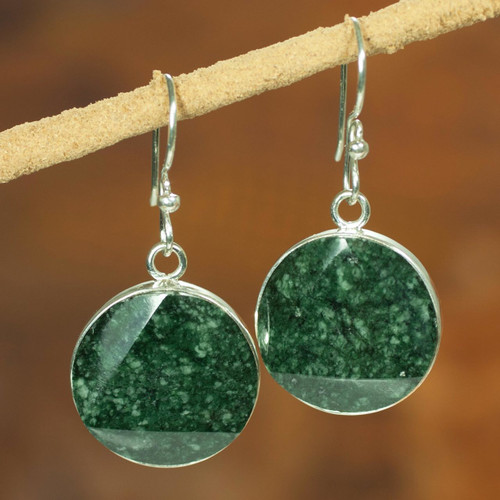 Sterling Silver Jade Dangle Earrings 'Green Moon'