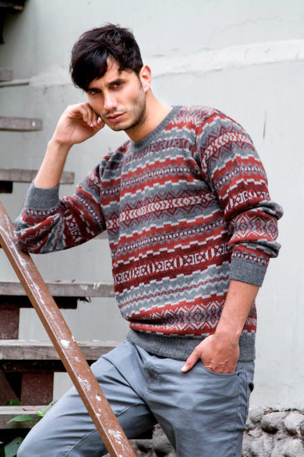 Men's Alpaca Wool Pullover Sweater 'Ice Fire'