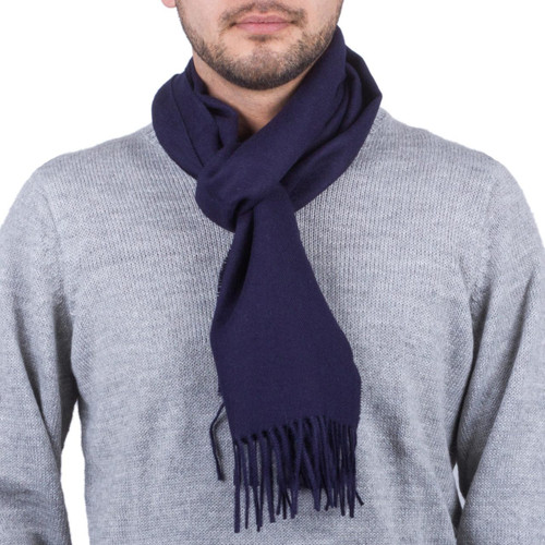 Men's 100% alpaca scarf 'Midnight Blue'