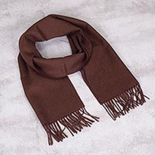 Men's 100% alpaca scarf 'Earth Brown'