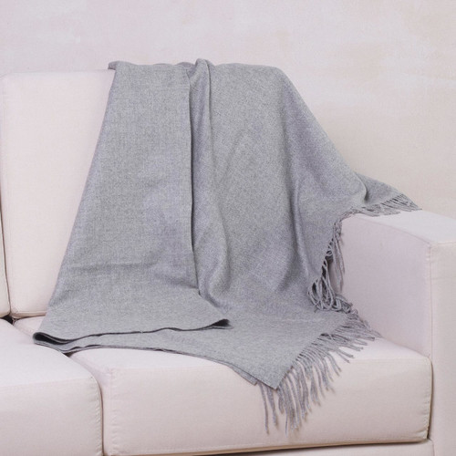 Alpaca Wool Solid Grey Throw Blanket 'Cozy Light Gray'