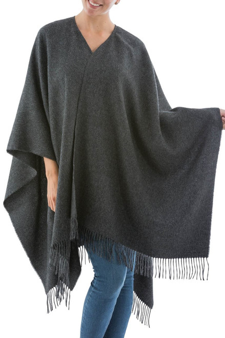 Handcrafted Alpaca Wool Solid Wrap Ruana 'Lush Dark Gray'