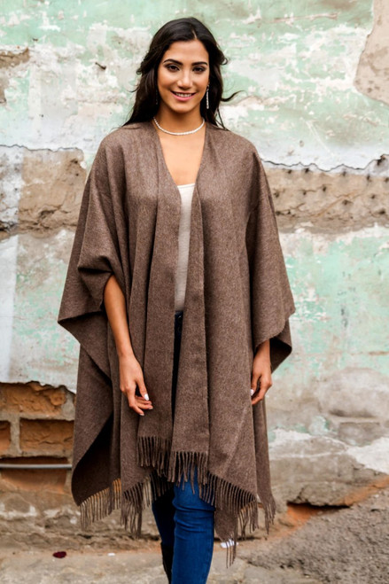 Alpaca Wool Solid Wrap Ruana from Peru 'Lush Dark Brown'