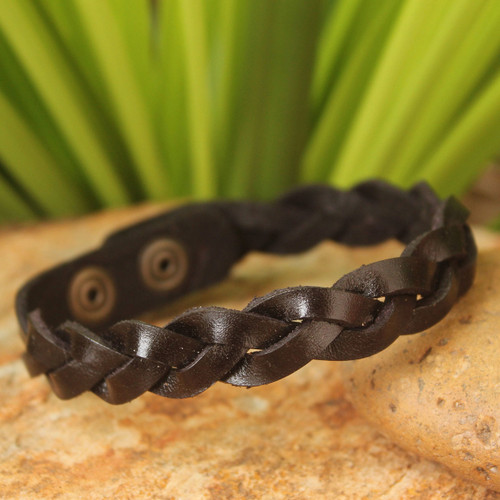 Men's Artisan Crafted Leather Wristband Bracelet 'Three Dark Rivers'