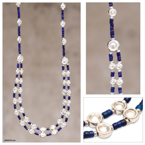 Unique Sterling Silver Beaded Lapis Lazuli Necklace 'Andean Legend'