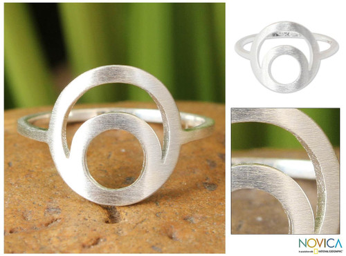 Hand Crafted Modern Sterling Silver Ring from Thailand 'Silver Eclipse'