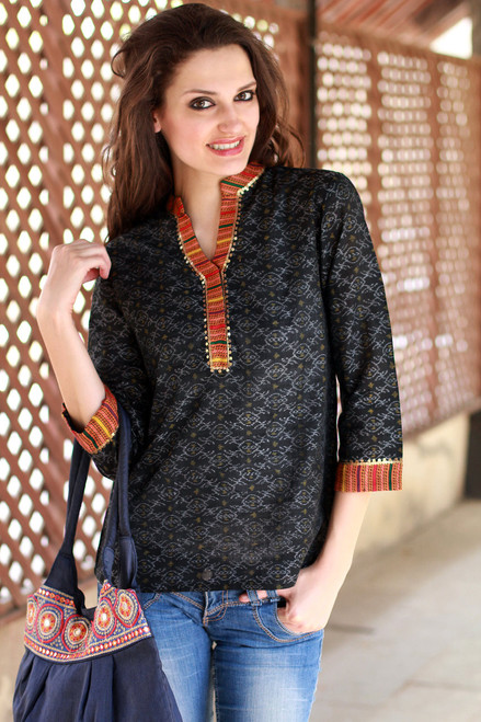 Cotton Tunic Blouse India Handwoven Ikat Embellished 'Waves of Orissa'