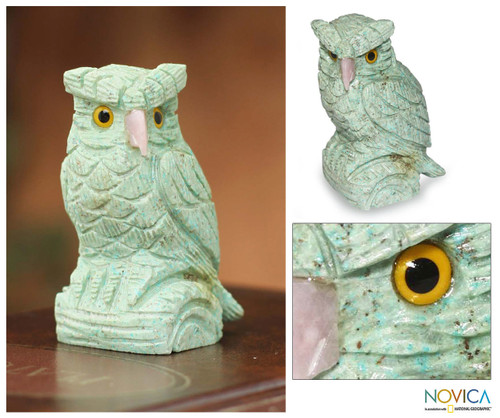 Handcrafted Turquoise Owl Gemstone Sculpture 'Mystic Owl'