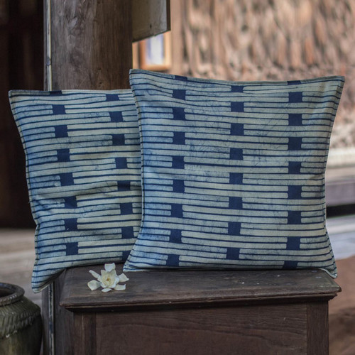 Batik Cotton Cushion Covers (Pair) 'Hill Tribe Stripes'