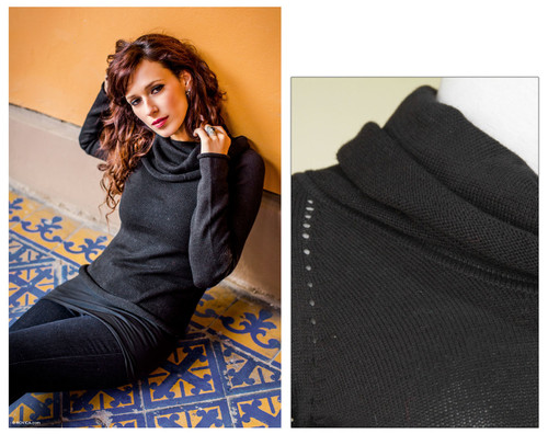 Hand Crafted Peruvian Cotton Blend Alpaca Wool Sweater 'Dark Warmth'