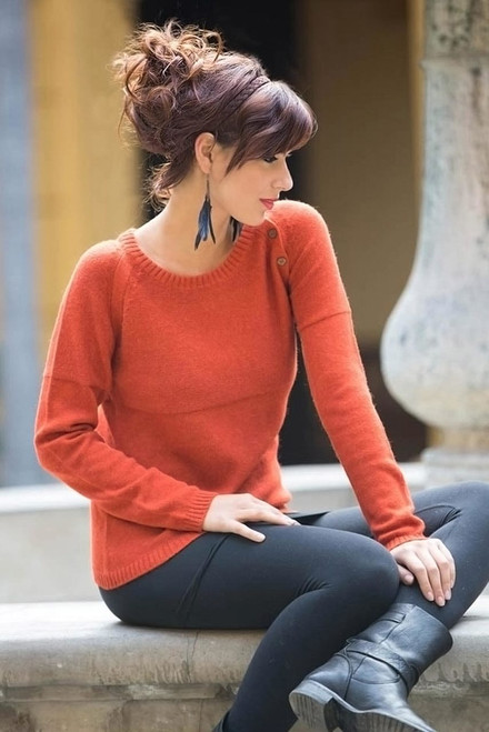 Handcrafted Alpaca Blend Sweater 'Andean Orange'