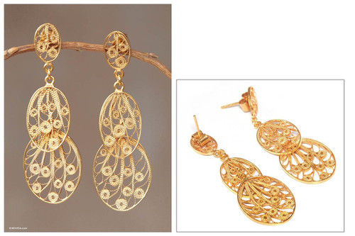 Hand Crafted 21K Gold Plated on Sterling Dangle Earrings 'Filigree Beauty'