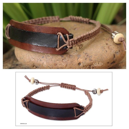 Leather Wristband Bracelet 'Black Band'