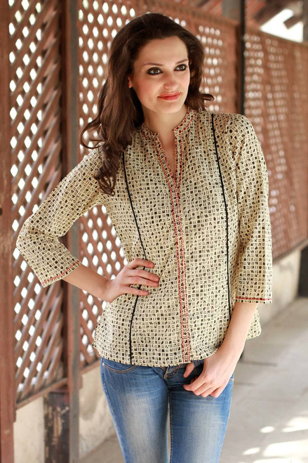Hand Made Cotton Embroidered Tunic Top from India 'Morning Joy'