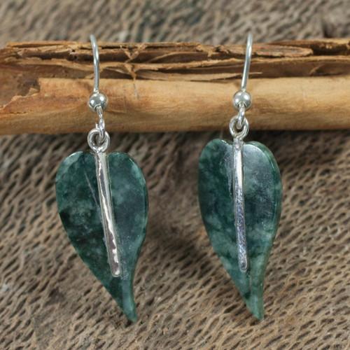 Jade earrings 'Maya Anthurium Leaf'