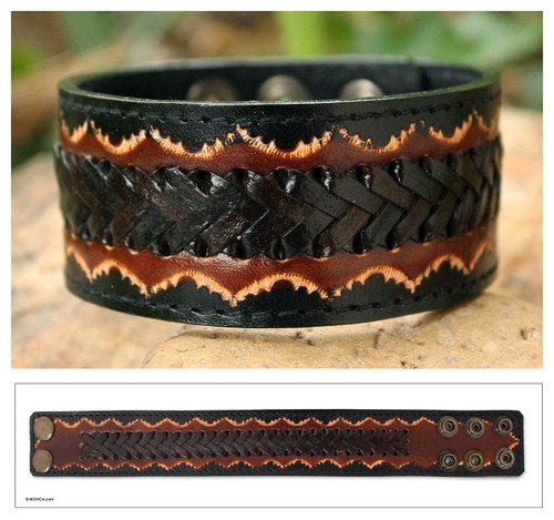 Men's Handcrafted Leather Wristband Bracelet 'Thai Flame'