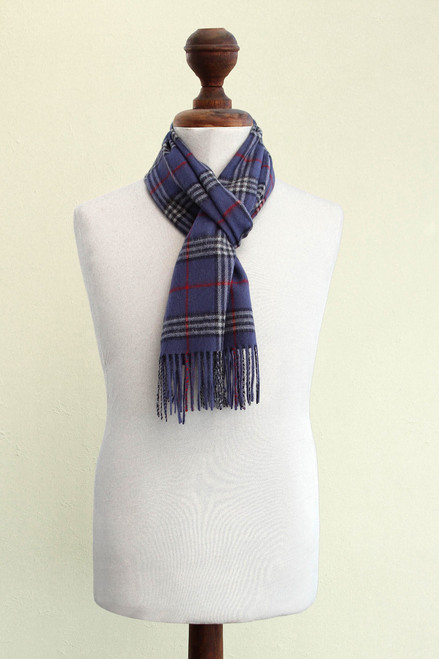 Men's Plaid Baby Alpaca Scarf from Peru 'Cool Blue'
