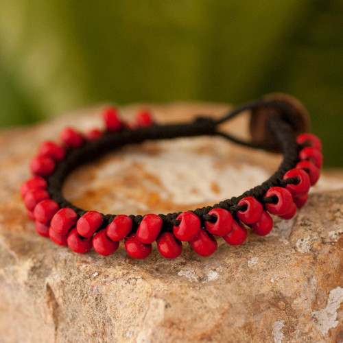 Handmade Guatemalan Leather Bracelet with Red Wood Beads 'Crimson Mantra'
