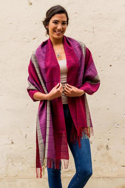 Handcrafted Geometric Alpaca Wool Shawl 'Rose of Tarma'