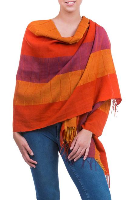 Handwoven Peruvian Alpaca Wool Striped Shawl 'Tarma Marigold'