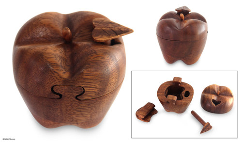 Hand Carved Wood Apple Puzzle Box 'Forbidden Fruit'