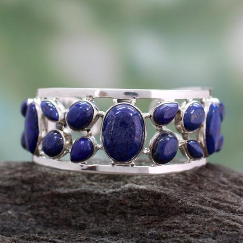 Lapis lazuli cuff bracelet 'Summer Sea'