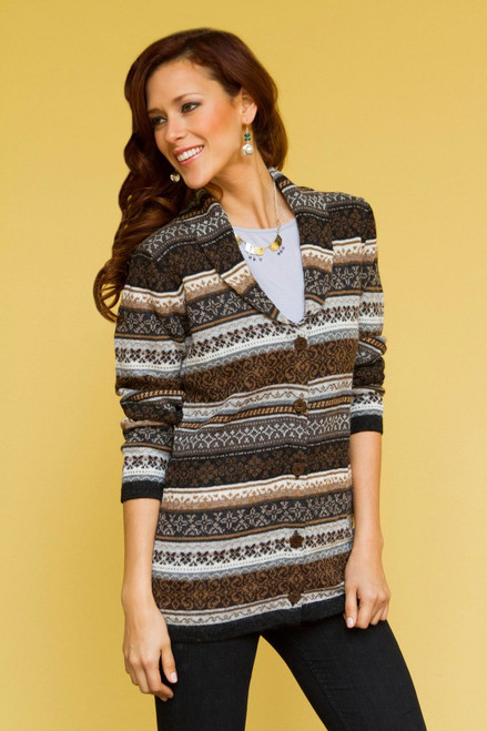 Peru Brown Jacquard Knit 100% Alpaca Cardigan Sweater 'Sepia Forest'
