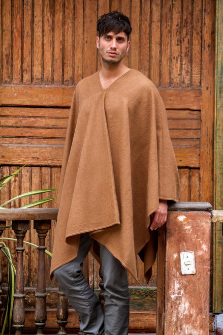 Artisan Crafted V-neck Alpaca Blend Poncho for Men 'Inca Explorer in Camel Brown'