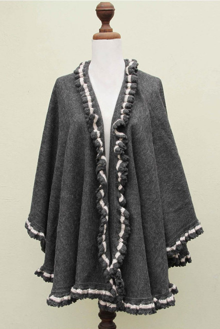 Alpaca Blend Grey Ruana Cape with Crochet Borders 'Andean Snow Princess'
