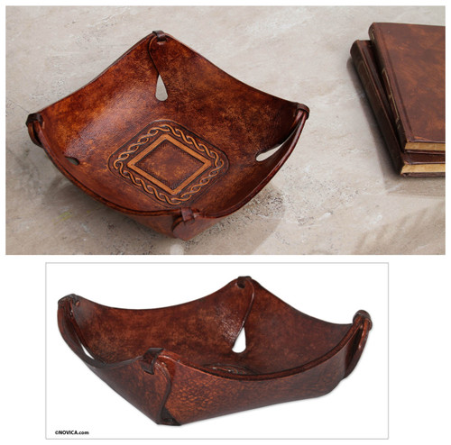 Artisan Crafted Leather Square Catchall from the Andes 'Brown Lasso Window'