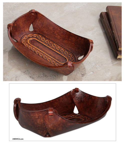 Leather Catch All Handcrafted in Peru of Tooled Leather 'Brown Lasso Labyrinth'