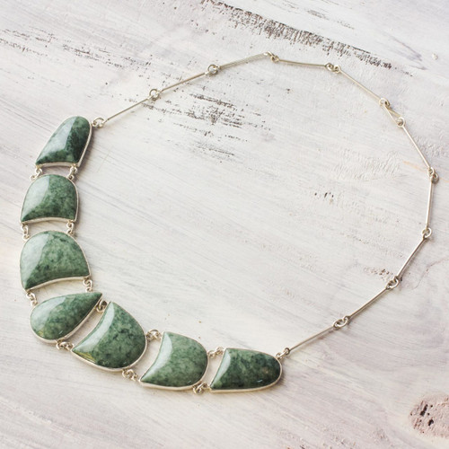 Artisan Crafted Jade Jewelry in a Sterling Silver Necklace 'Light Green Uniqueness'