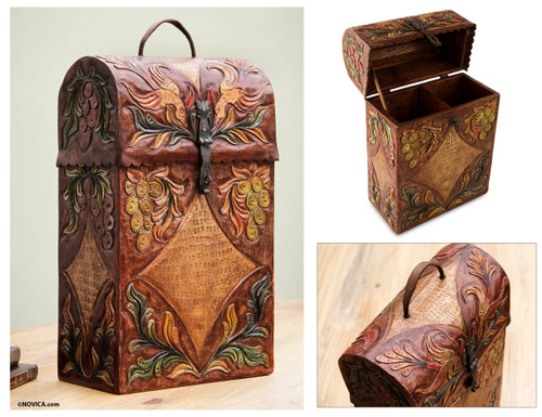 Handcrafted Tooled Leather Wine Case 'Colonial Vineyard'