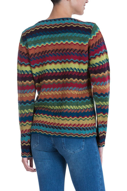 0b1501b74fd9 Colorful Alpaca Cardigan with Coconut Shell Buttons  Ayacucho Breeze