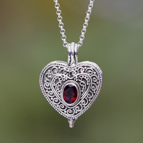 Garnet and Sterling Silver Heart Shaped Locket Necklace 'Always in my Heart'