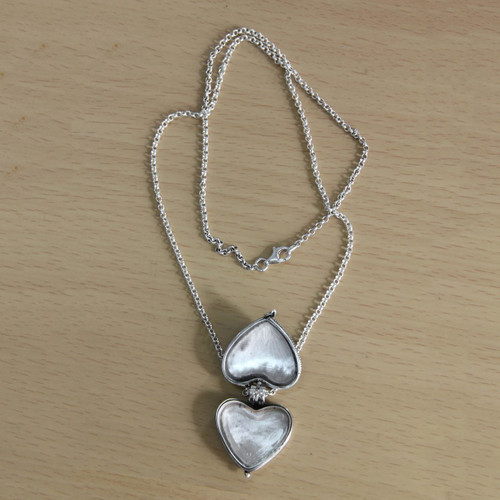 f35932447f3095 ... Garnet and Sterling Silver Heart Shaped Locket Necklace 'Always in my  Heart' ...