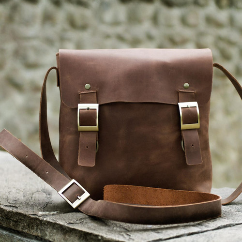 Brown Leather Mens Messenger Bag 'Explorer'
