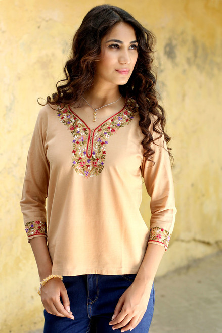 Handcrafted Floral Tan Cotton Tunic 'Desert Floral'
