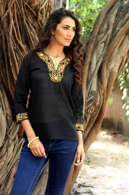 Handwoven Floral Cotton Embroidered Black Tunic Top 'Ebony Floral'