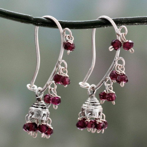 Garnet and Sterling Silver Handcrafted Jhumki Earrings 'Music'