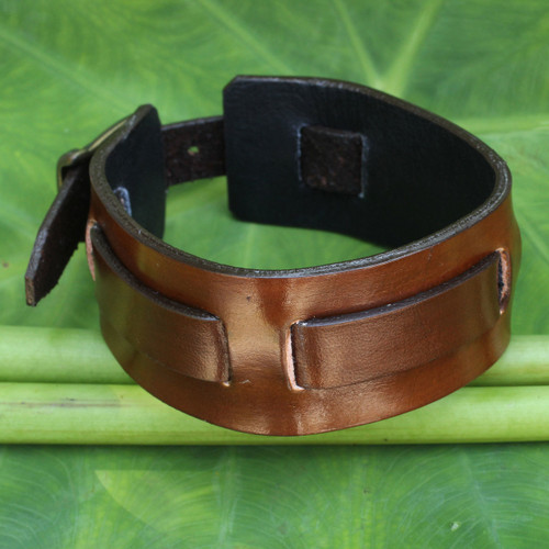 Men's Artisan Crafted Leather Wristband Bracelet 'Lanna Warrior in Brown'