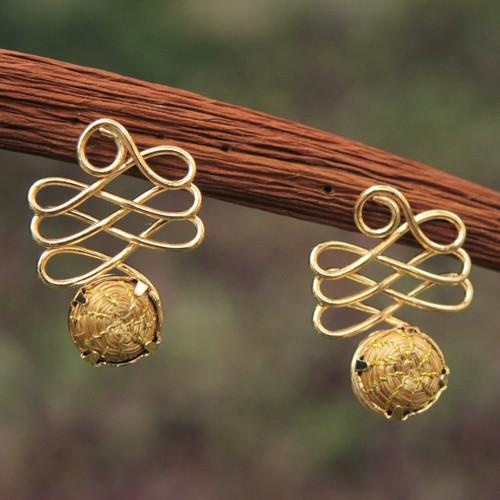 Fair Trade Golden Grass Handcrafted Drop Earrings 'Infinite Paths'