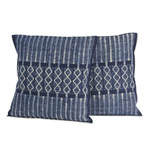Hand Dyed Blue Cotton Batik Cushion Covers (pair) 'Enchanted Hills'