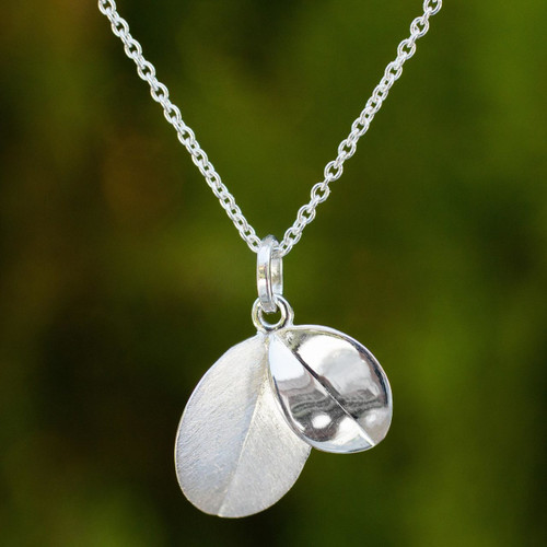Thai Sterling Silver Double Leaf Pendant Necklace 'Moonlit Leaves'