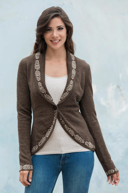 Beautiful Knitted Alpaca Cardigan for Women in Nutmeg Brown 'Earthen Mystique'