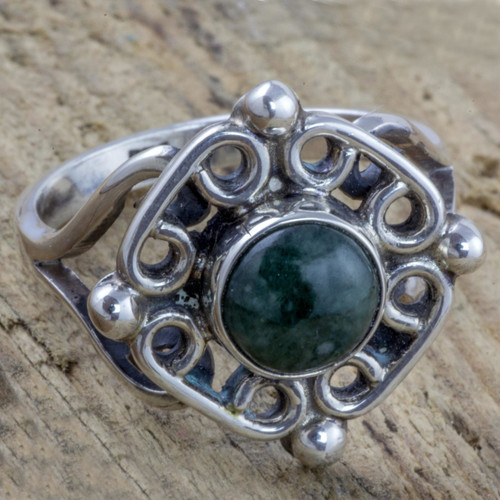 Antiqued Sterling Silver Ring with Guatemalan Jade 'Maya Cardinal Points'