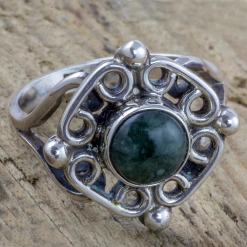 Antiqued Sterling Silver Ring with Guatemalan Jade 'Maya Cardinal Points'