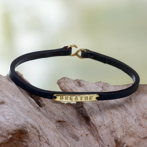 Engraved Brass on Slender Leather Wristband Bracelet 'Breathe'